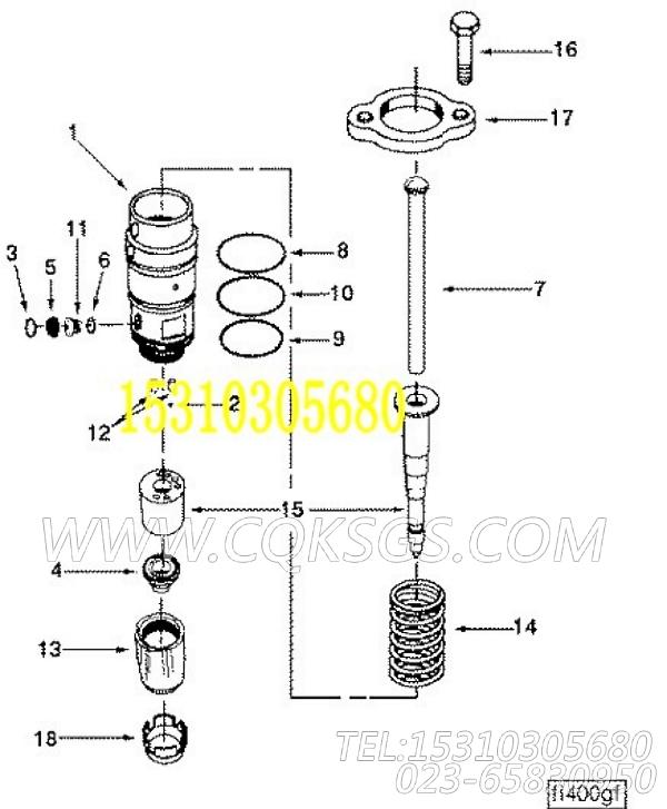 3016676喷油器,用于康明斯KTA19-G2(M)柴油发动机性能件组,【船用主机】配件