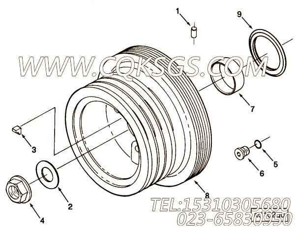3008947键槽密封,用于康明斯NTC-290动力附件驱动皮带轮组,【XZ680定向钻机】配件