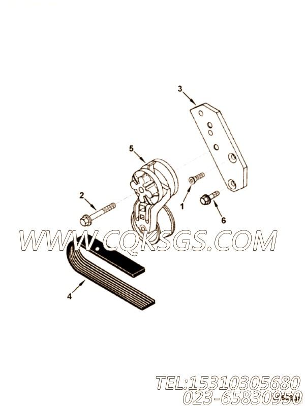 【发动机EQ6BTAA5.9的发电机驱动件组】 康明斯皮带涨紧轮支架,参数及图片