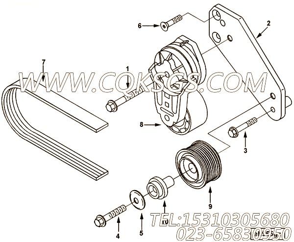 【柴油机B140 30的发电机驱动件组】 康明斯多楔带,参数及图片