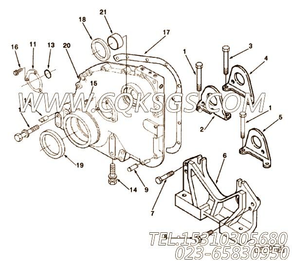 3011712带垫螺栓,用于康明斯NTA855-P400柴油机发动机前支架组,【应急水泵机组】配件
