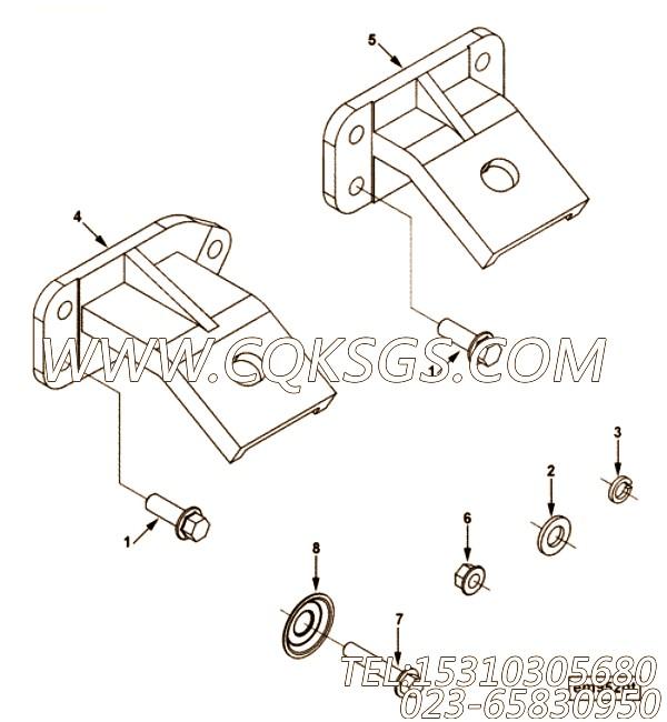 【发动机ISC8.3-230E40A的发动机前悬置支架组】 康明斯六角头螺栓,参数及图片