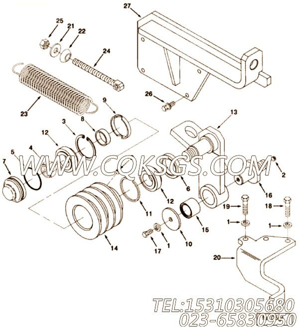 3326142张紧轮支架,用于康明斯NTA855-C360柴油发动机风扇布置组,【特雷克斯矿用自卸车】配件
