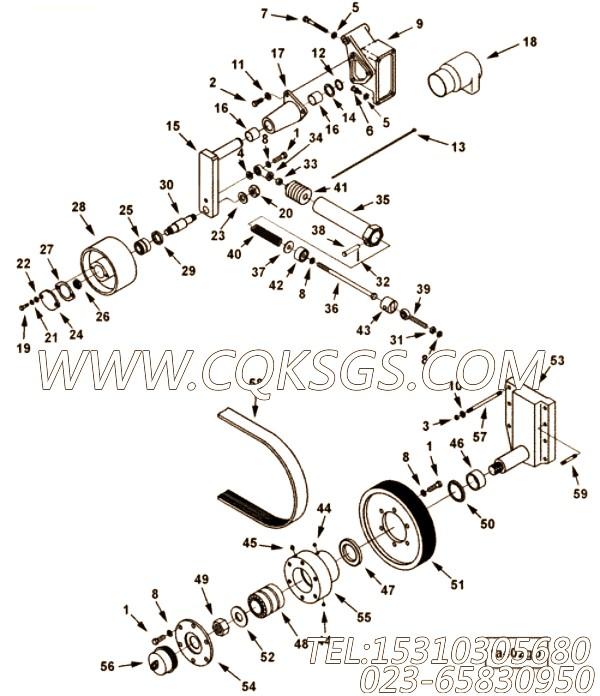 3009483皮带轮,用于康明斯KTA38-C1200发动机风扇驱动布置组,【装载机】配件