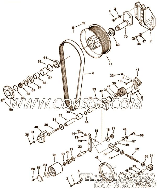 3177130惰轮轮杆,用于康明斯KT38-G-500KW动力风扇布置组,【发电用】配件