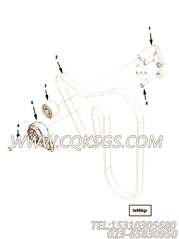 【柴油机6ZTAA13-G2的风扇驱动安装件组】 康明斯皮带涨紧轮支架,参数及图片