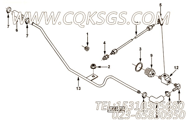 【Tube, Air Fuel Control】康明斯CUMMINS柴油机的3930896 Tube, Air Fuel Control