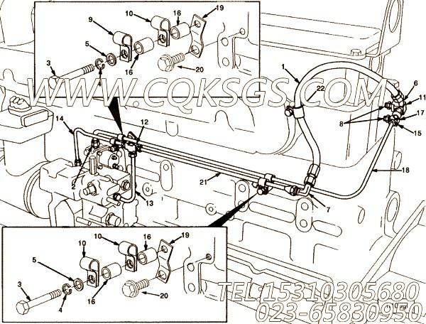 【燃油旁通管】康明斯CUMMINS柴油机的3015391 燃油旁通管