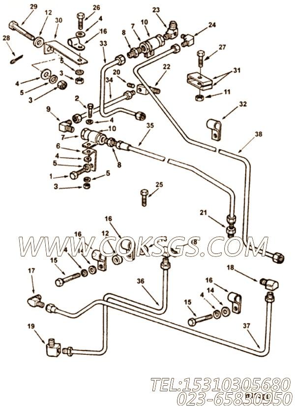 【燃油供应管】康明斯CUMMINS柴油机的3254251 燃油供应管