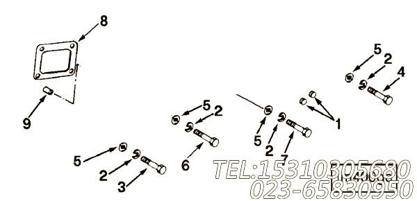 137872六角螺栓,用于康明斯KTA19-M600动力进气管安装组,【船舶机械】配件