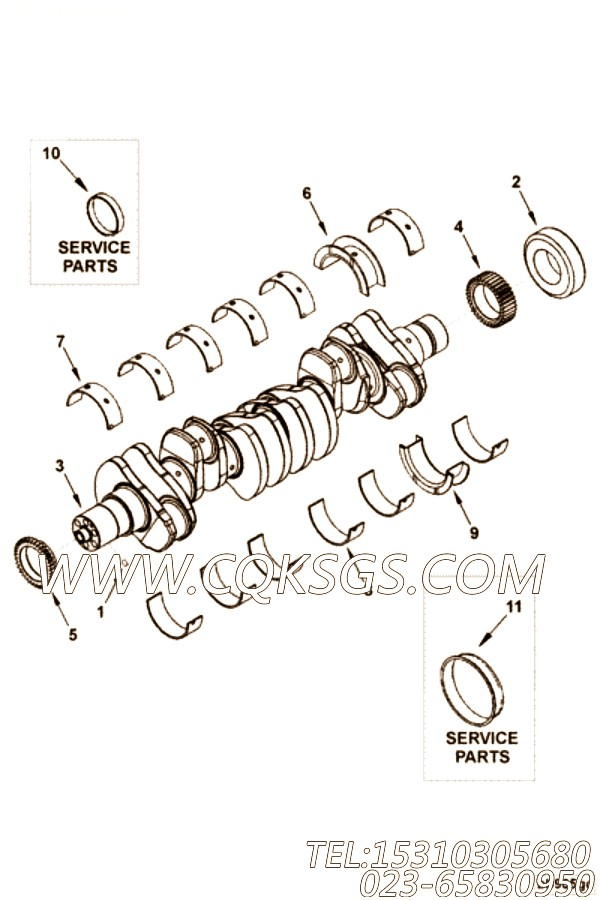 【发动机4B3.9-G1的缸体组】 康明斯曲轴主轴瓦上瓦,参数及图片