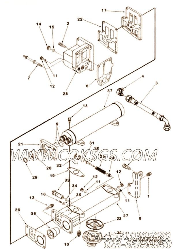 【机油冷却器】康明斯CUMMINS柴油机的3412857 机油冷却器