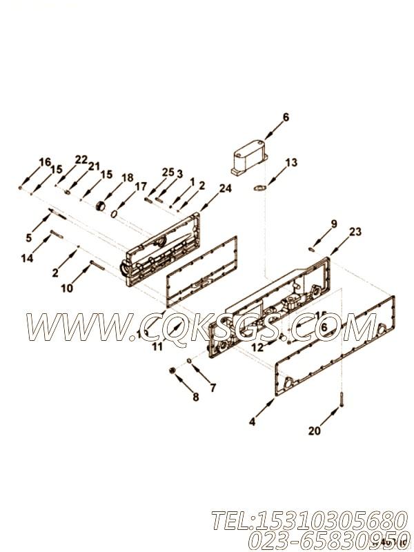 3085955机油冷却器壳,用于康明斯KTA19-G2动力机油冷却器组,【发电机组】配件