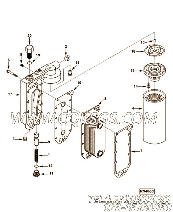 【引擎6LTAA8.9-C300的机油冷却器组】 康明斯机油旁通阀,参数及图片