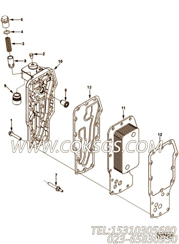 【发动机QSB4.5-C130的机油冷却器组】 康明斯机油滤清器座,参数及图片