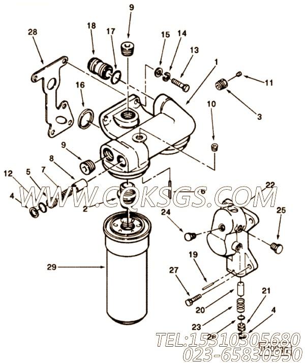 3007170活塞冷却器弹簧,用于康明斯KTA19-M470发动机机油滤清器组,【船舶机械】配件