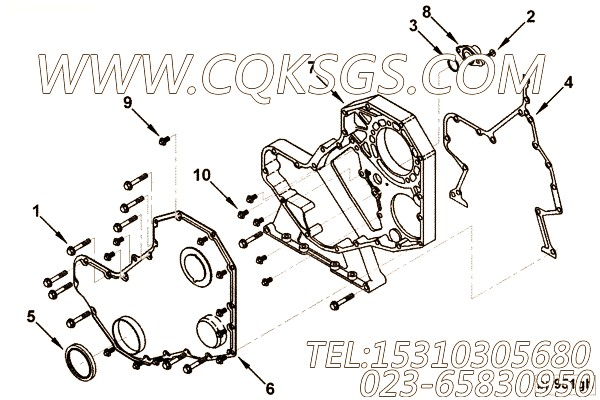 【发动机B5.9-195G的齿轮室组】 康明斯传感器支架,参数及图片