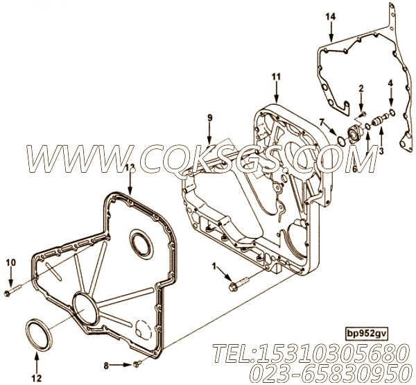【柴油机6CT8.3-GM115的齿轮室组】 康明斯齿轮室,参数及图片