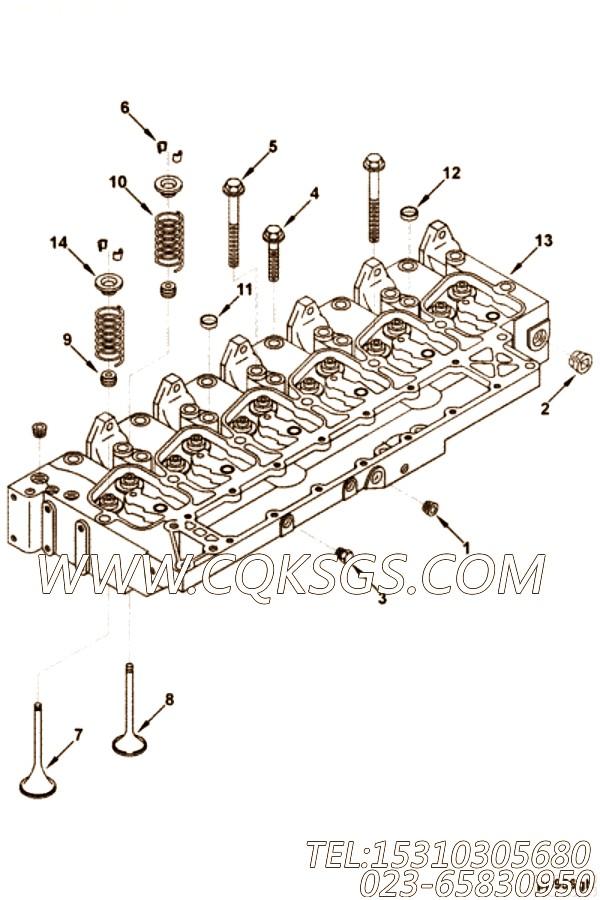 【发动机6B的气缸盖组】 康明斯气阀弹簧座,参数及图片