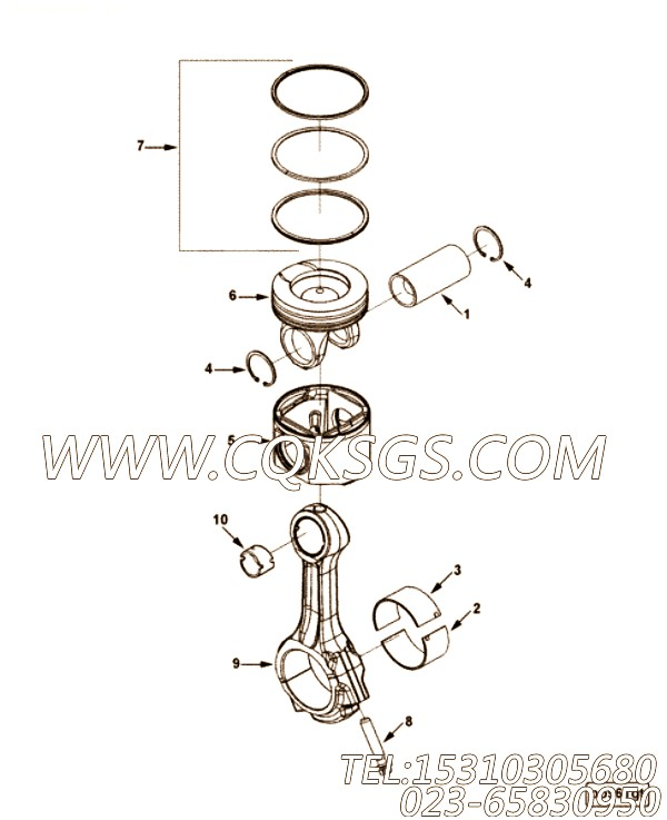 【柴油机6LTAA8.9-C295的性能件组】 康明斯连杆,参数及图片