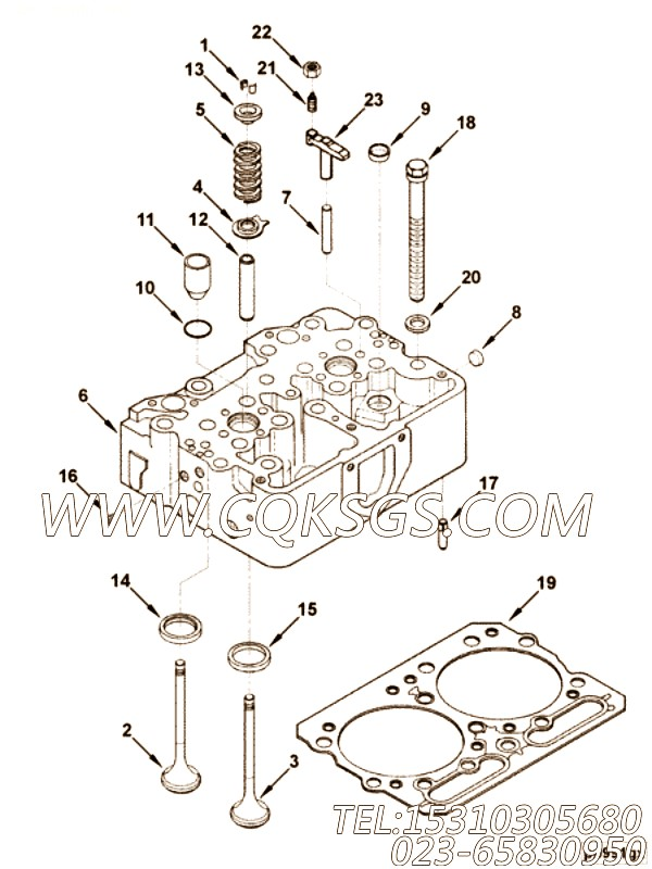 3027340气缸盖安装,用于康明斯NT855-C280柴油机性能件组,【中置式拌和机】配件