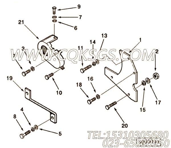 3010514六角螺栓,用于康明斯KT38-P780柴油机充电机防护罩组,【水泵机组】配件