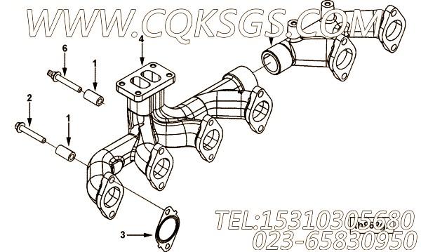 【发动机6LTAA8.9-M315的增压器布置组】 康明斯六角法兰面螺栓,参数及图片