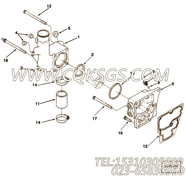3895455节温器壳,用于康明斯M11-C175发动机节温器壳组,【混沙撬】配件