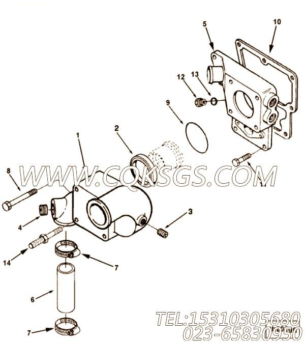 3081350六角螺栓,用于康明斯ISM305V发动机节温器支架组,【轮船用】配件