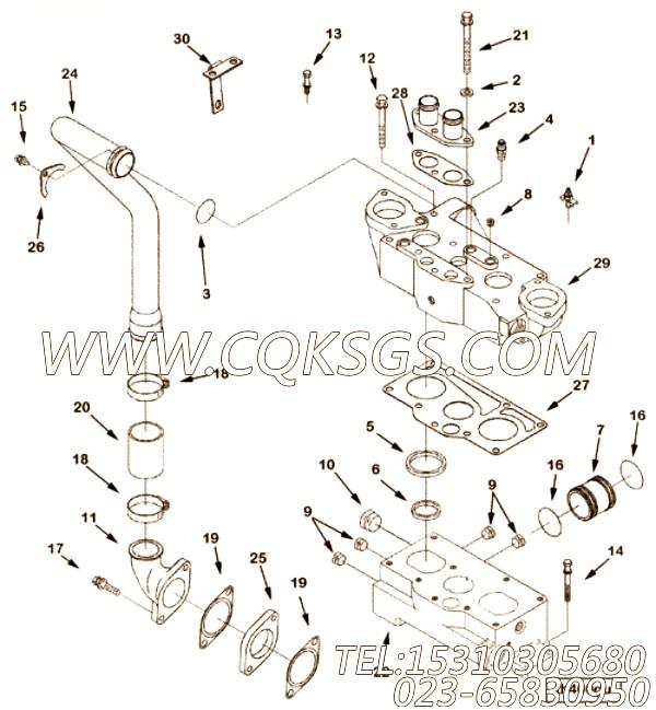 【调水连接】康明斯CUMMINS柴油机的3081687 调水连接