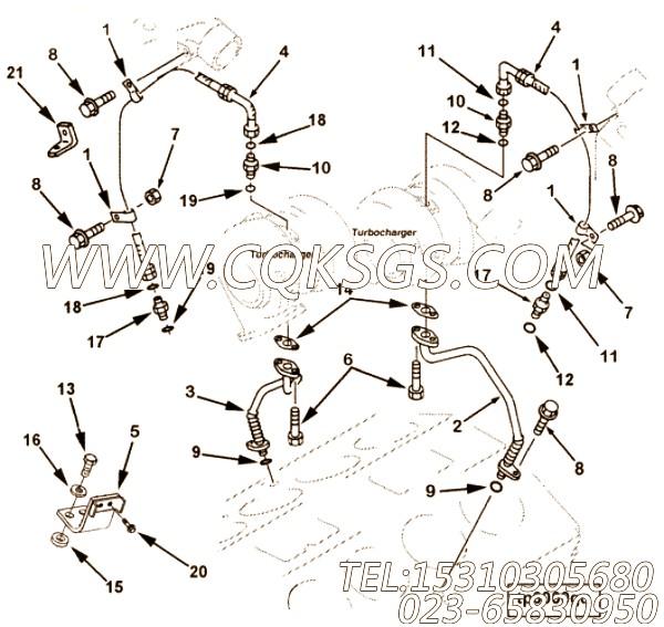 【TUR油漏管】康明斯CUMMINS柴油机的3092683 TUR油漏管