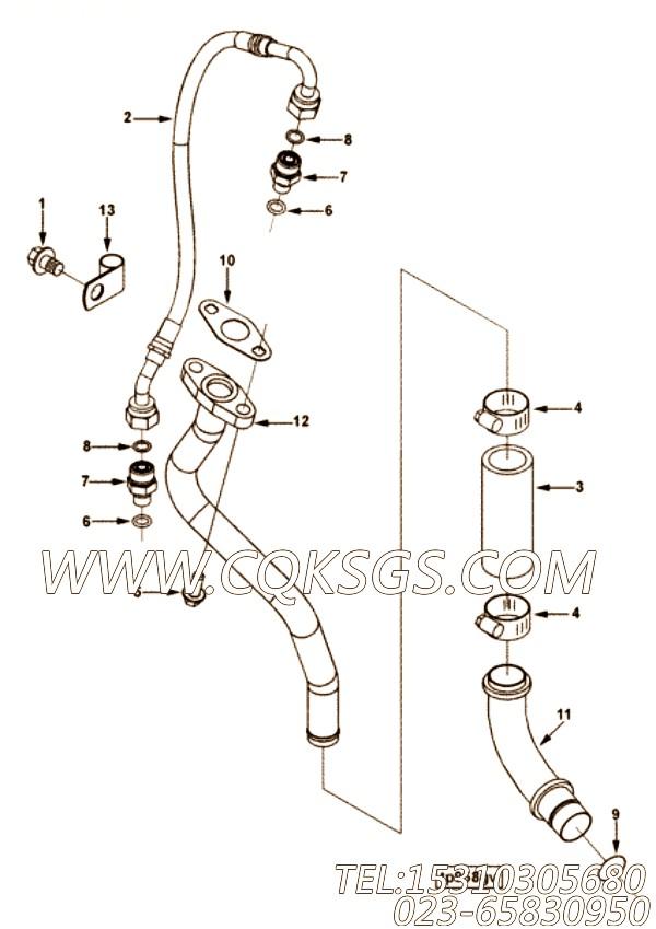 【发动机ISC8.3-245E40A的增压器管路组】 康明斯组合软管,参数及图片