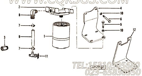 211448水滤器支架,用于康明斯NTA855-G2(M)60Hz柴油发动机排气管安装组,【船舶机械】配件