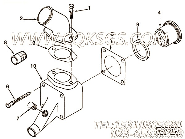 WO1037出水管联接,用于康明斯NT855-M300主机出水管安装组,【船用】配件