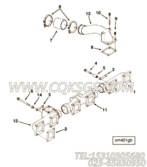 3066497六角螺栓,用于康明斯KTTA19-G2主机排气歧管和增压器安装组,【电力】配件