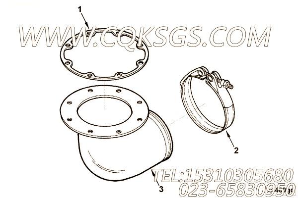 3026447增压器管接头,用于康明斯KTA19-P540柴油机排气管弯接头组,【消防泵】配件