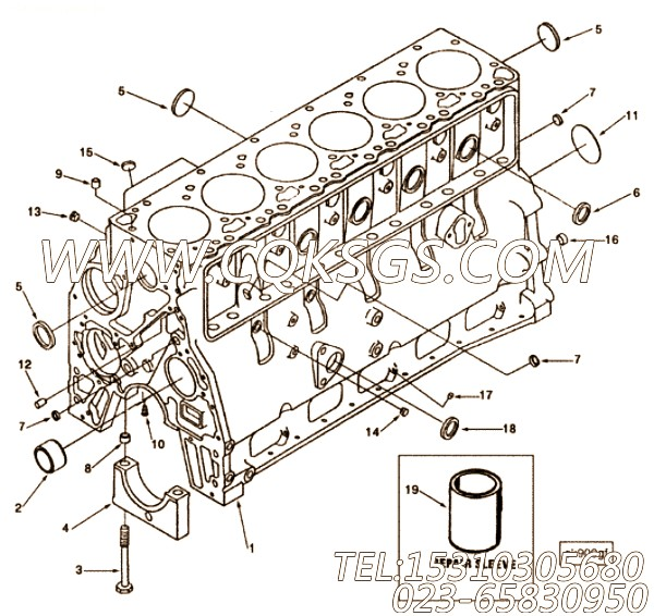 【柴油机6BTA5.9-C165的缸体组】 康明斯,参数及图片