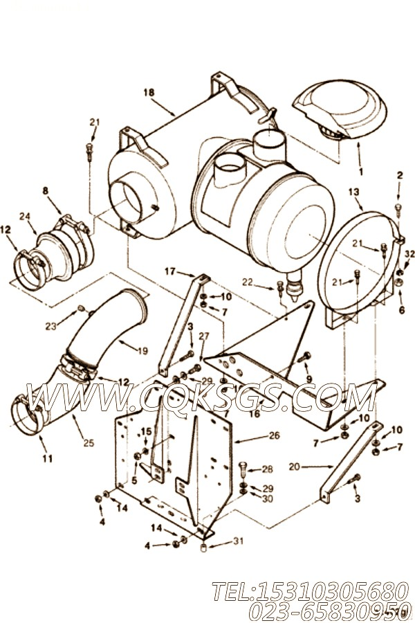 【空气净化器支架】康明斯CUMMINS柴油机的3034735 空气净化器支架