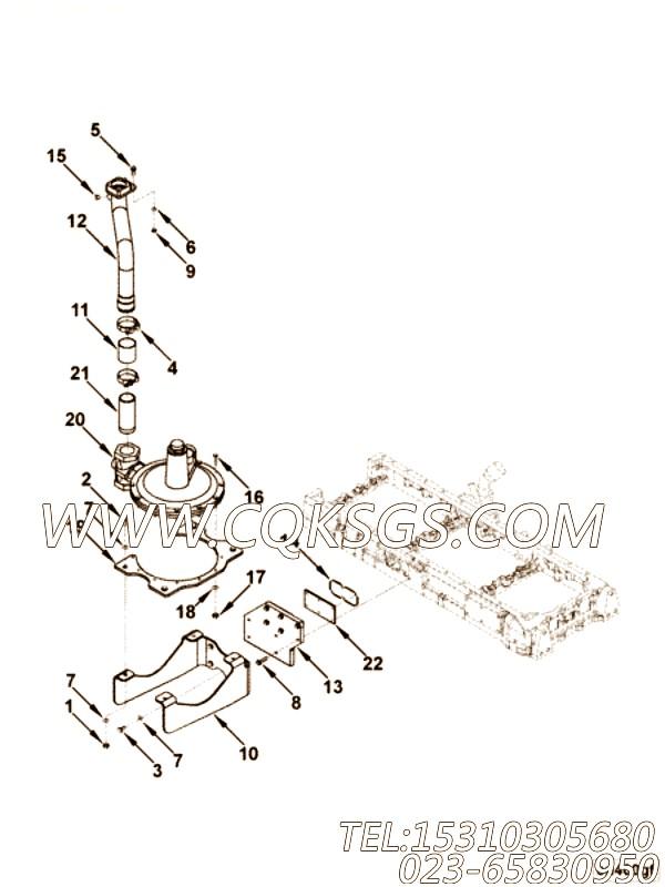 3065723带垫螺栓,用于康明斯KTA19-P540柴油机机油盘组,【泥浆泵】配件