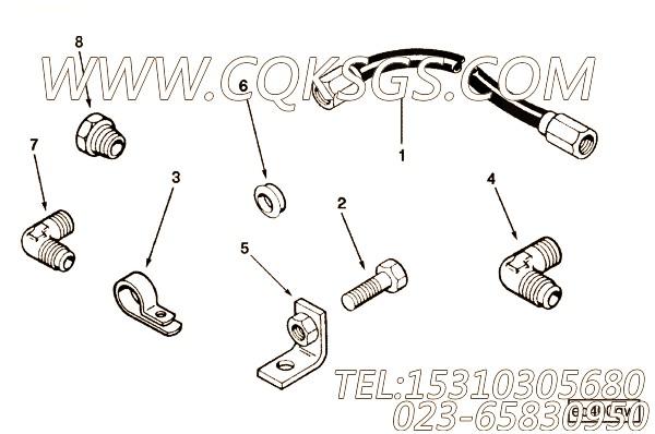 3201039弯接头,用于康明斯KTA19-M550发动机油压表管路组,【船用】配件