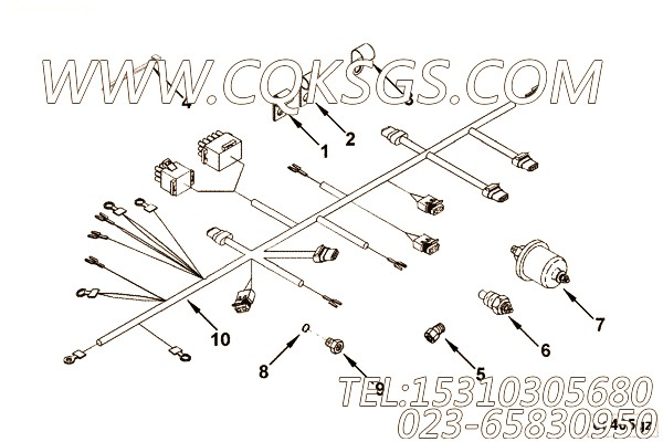 3165394导线,用于康明斯KTA19-G4(M)发动机发动机导线组,【船舶机械】配件